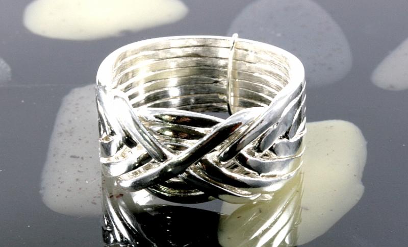 Puzzlering, Silber, 8 Bänder, feines Design