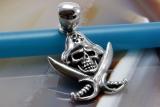 Pirat, Totenkopf, Skull , Anhänger, 925 Sterling Silber
