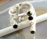 Designerring mit Perlen und Edelsteinen,Silber