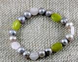 Jade,Kristall und Perlen, Armband