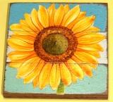 Sonnenblume, auf Teak gemalt.