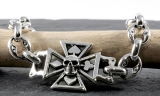 Totenkopf,Eisernes Kreuz, Armband, 925 Sterling Silber